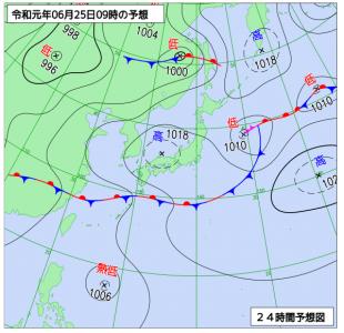 6月25日(火)9時の予想天気図