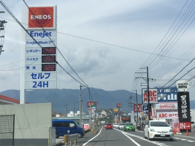 レギュラーガソリン145円/L 西近江路沿い大津市真野のセルフGSで(19/04/18)