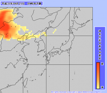 黄砂予測(4月21日9時)