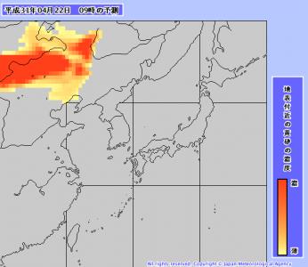 黄砂予測(4月22日9時)