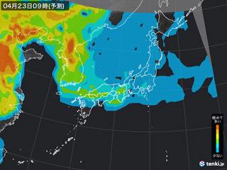 PM2.5分布予測(4月23日9時)