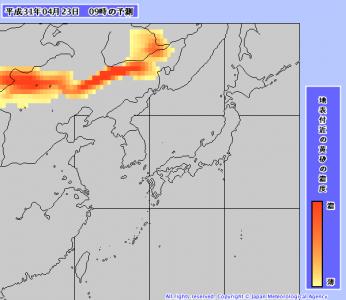 黄砂予測(4月23日9時)