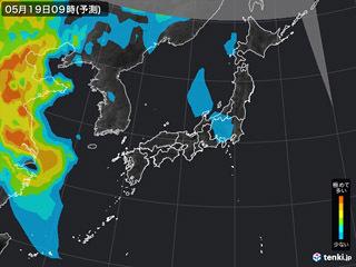 PM2.5分布予測(5月19日9時)