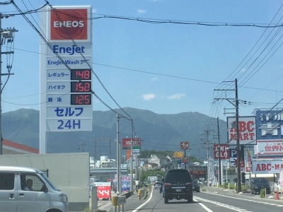 レギュラーガソリン148円/L 西近江路沿い大津市真野のセルフGSで(19/05/23)