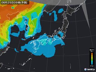 PM2.5分布予測(6月25日9時)