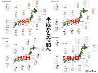 平成から令和へ!! 10連休の天気