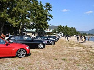 マキノ浜で開催された輸入車ディーラー滋賀BMW主催のオフ会の様子