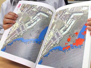 オオバナミズキンバイが生息しやすい場所を予測したマップ