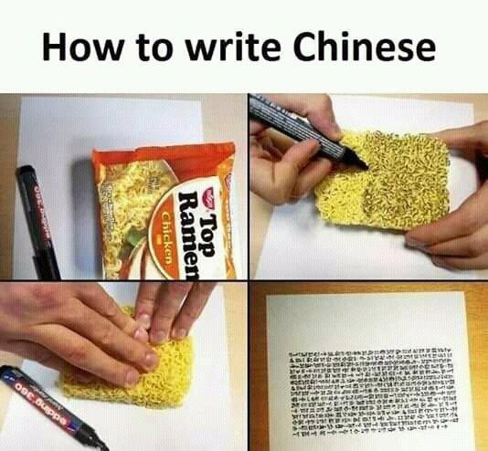 ラーメンを使って中国語を書く方法