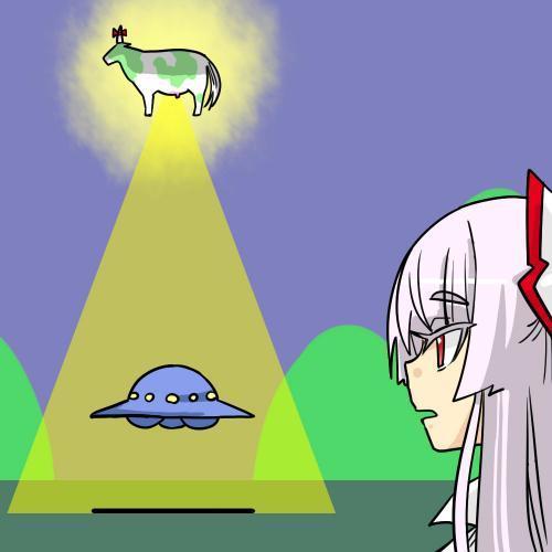 牛がUFOを攫っているイラスト