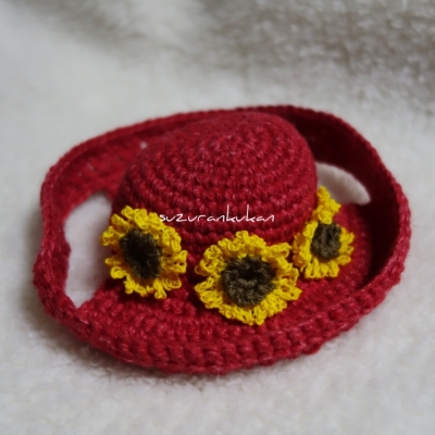 サマー帽子<レッド杢>向日葵付き