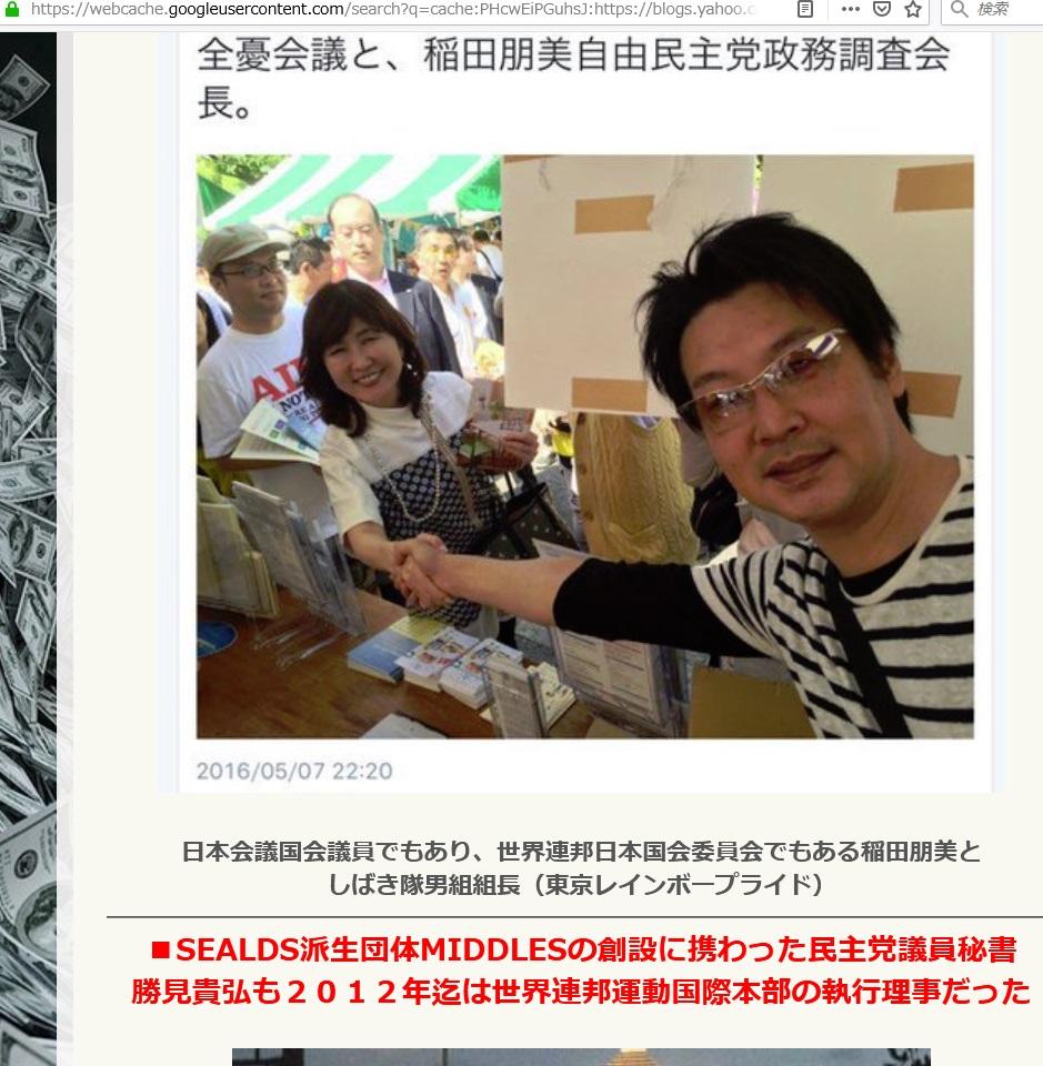 しばき隊と統一教会稲田朋美と世界連邦つながり