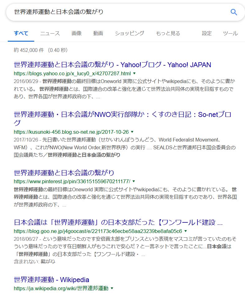 世界連邦運動と日本会議の繋がり