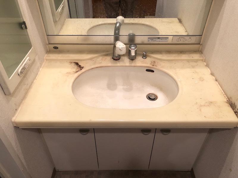 洗面台人工大理石再生研磨・磨き前1