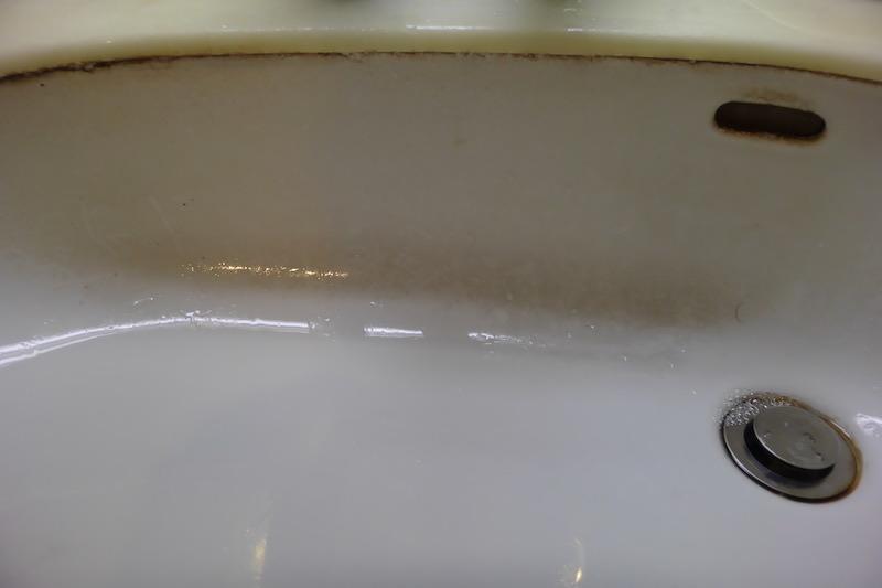 洗面ボウル陶器再生研磨・磨き前