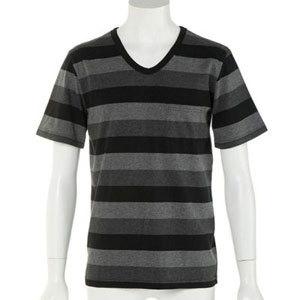 2019年 夏 メンズファッション 半袖ボーダーTシャツ8 黒