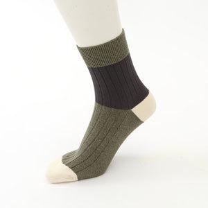 メンズソックス 靴下 リブカラーパネル