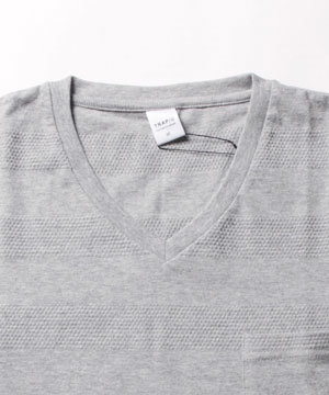 2019春夏 メンズボーダーTシャツ Vネック3