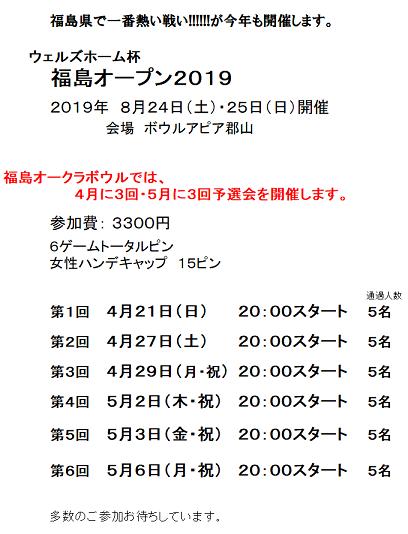 福島オープン2019予選会日程