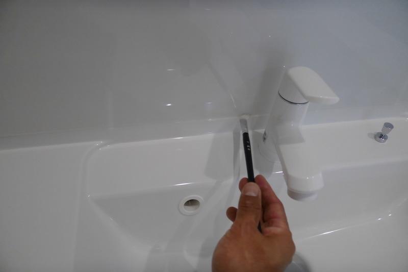 洗面台のゴムパッキンの防カビコーティング〜柏市〜