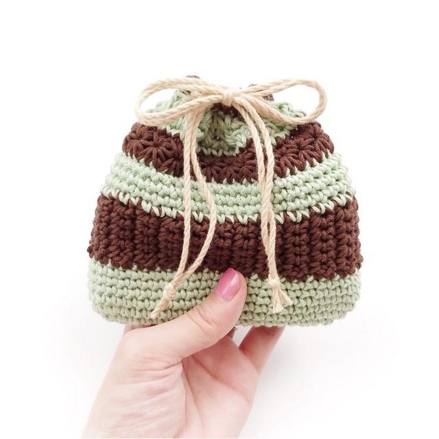手編み雑貨 HanahanD コットン スイーツ 巾着袋