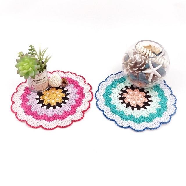 手編み雑貨 HanahanD 個性派 対比色 花 ドイリー おおきめ レース