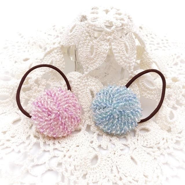 手編み雑貨 HanahanD ヘアゴム ビーズ編み グラデーション 包みボタン レース 春 海