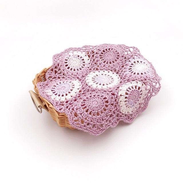 手編み雑貨 HanahanD 丸 モチーフ繋ぎ コットン ドイリー