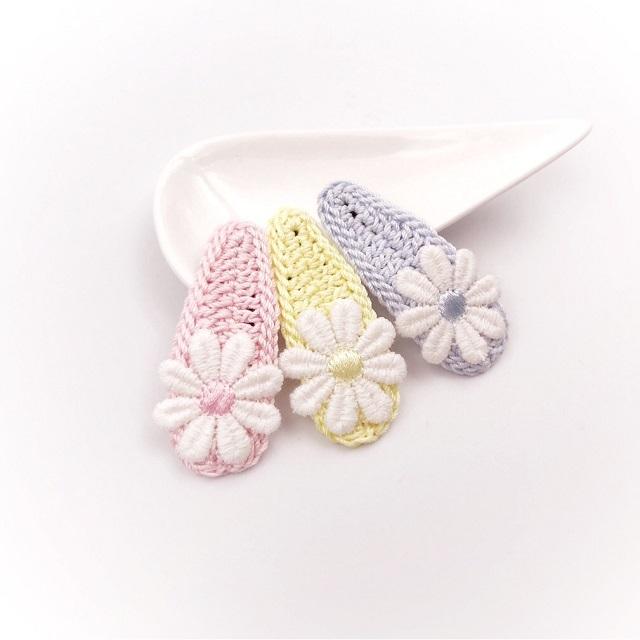 手編み雑貨 HanahanD レース 花 パッチンピン パステルカラー