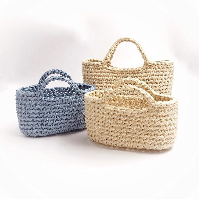 手編み雑貨 HanahanD かごバッグ 夏バッグ ハンドバッグ 手編みバッグ 編みかご