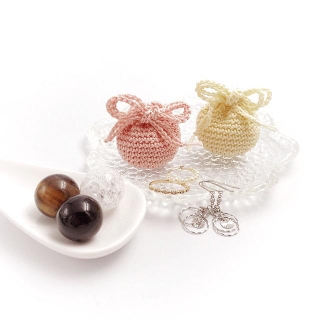 手編み雑貨 HanahanD ミニ巾着 丸型 ストーンケース リングケース アクセサリーケース