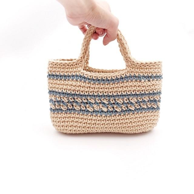 手編み雑貨 HanahanD ボーダー コットン ハンドバッグ