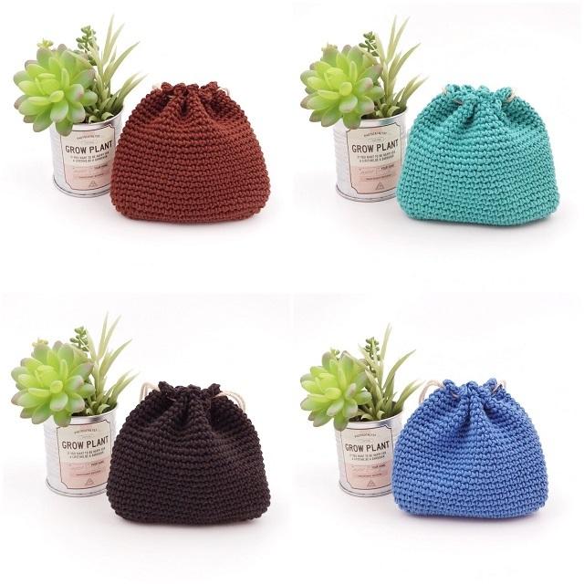 手編み雑貨 HanahanD シンプル コットン 巾着袋 年中素材