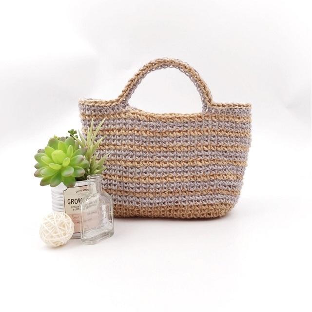 手編み雑貨 HanahanD 編みかご かごバッグ 麻バグ 夏バッグ
