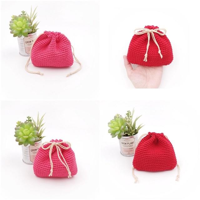 手編み雑貨 HanahanD コットン シンプル 巾着袋