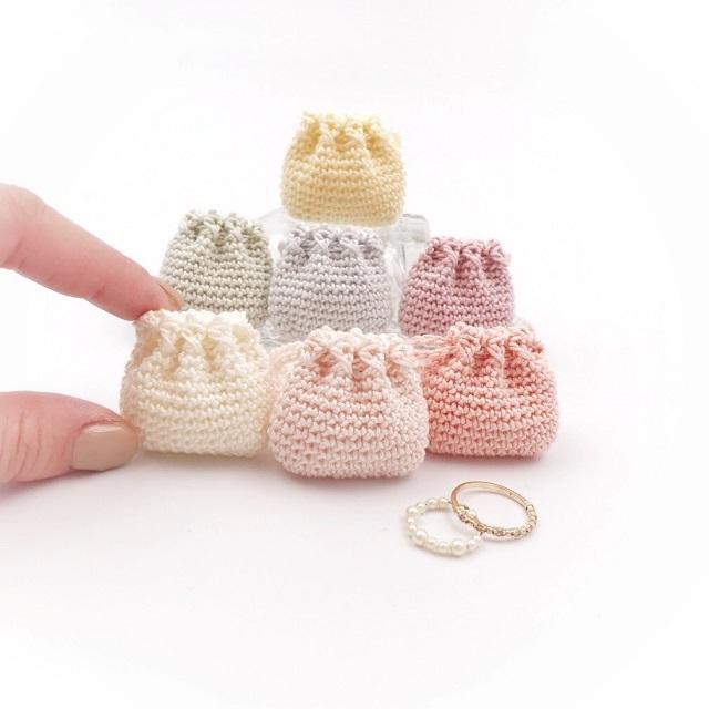 Minikin,手編み雑貨,HanahanD,ミニ巾着,レース,お守り入れ,ストーンケース