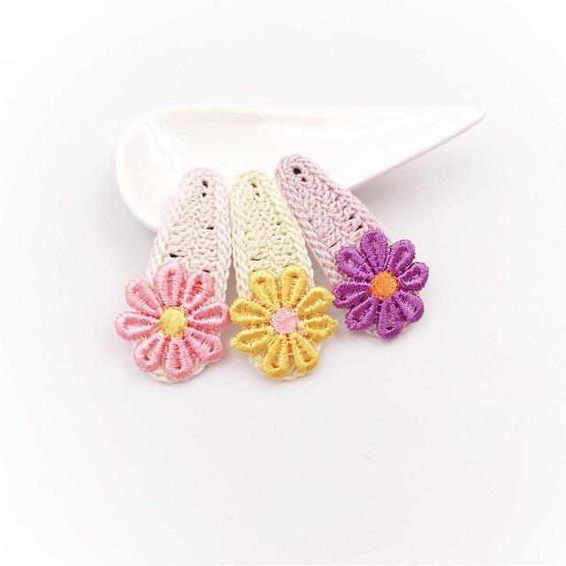 手編み雑貨 HanahanD レース 花 パッチンピン ポップカラー