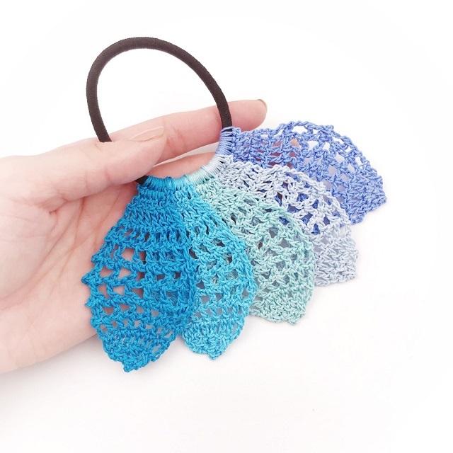 手編み雑貨 HanahanD リーフ グラデーション ヘアゴム 個性的