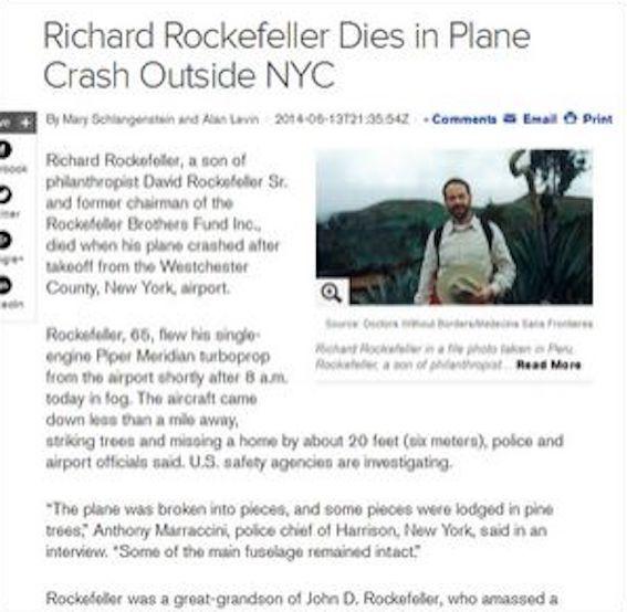 リチャード・ロックフェラー医師死亡の記事