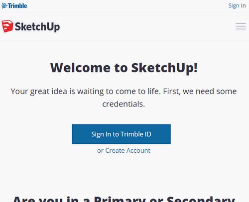 SketchUpダウンロードページ画面
