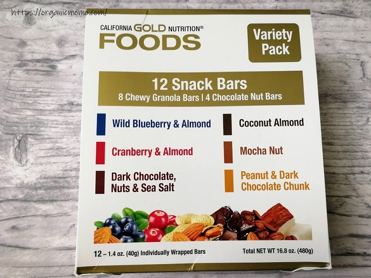 California Gold Nutritionのフード、バラエティーパックスナックバー