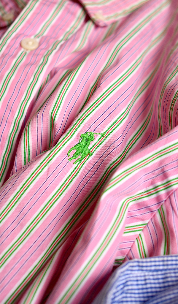 ポロラルフローレンPOLO長袖チェックシャツUSEDストライプシャツ画像メンズレディースコーデ@古着屋カチカチ