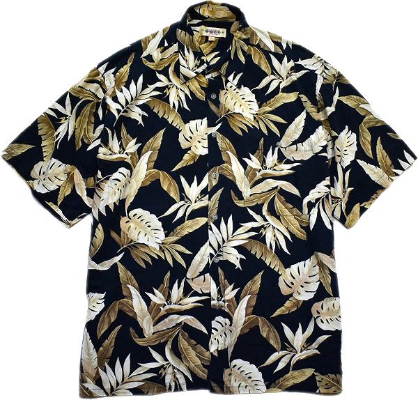 黒アロハシャツ画像メンズレディースコーデUSEDリゾートMixスタイル@古着屋カチカチ