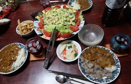 牛ばら肉を岩下汁で煮たカレー、カニカマ入りサラダ