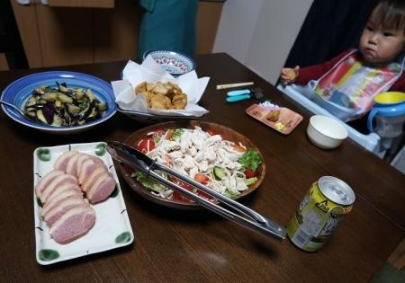 モロの唐揚げ、チキンサラダ、茄子の揚げびたし、合鴨燻製