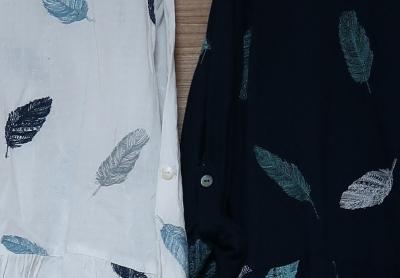 羽根刺繍ワンピ