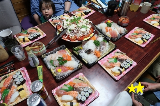 お寿司と刺身の晩ご飯