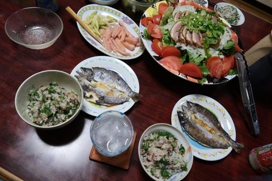 あまご一夜干し、ミョウガ竹の岩下汁漬け、合鴨燻製サラダ、カブ菜飯、