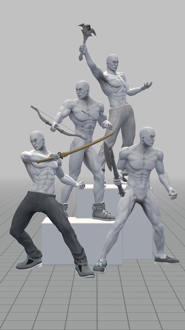 立ち向かう4人モデル