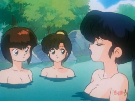 らんま1/2TV版 天道あかねと天道なびきと天道かすみの胸裸ヌード温泉入浴シーン322